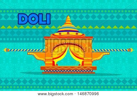 easy to edit vector illustration of Indian Palki Palanquin representing colorful India