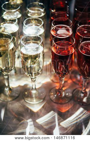 On the table there are glasses with champagne. Preparations for a grand celebration