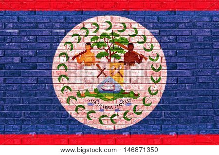 Illustration of the flag of Belize looking like it is painted onto a brick wall