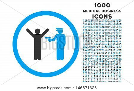 Police Arrest rounded vector bicolor icon with 1000 medical business icons. Set style is flat pictograms, blue and gray colors, white background.