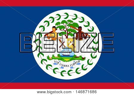 Illustration of the flag of Belize with the country written on the flag