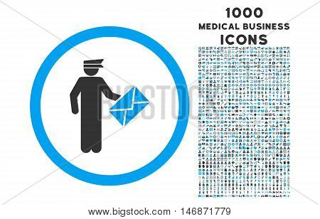 Postman rounded vector bicolor icon with 1000 medical business icons. Set style is flat pictograms, blue and gray colors, white background.