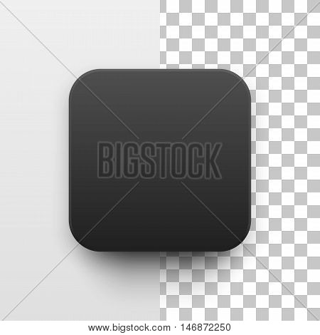 Black abstract app icon, blank button template with realistic shadow and light background for design concepts, web sites, user interfaces, UI, applications, apps, mock-ups. Vector illustration.