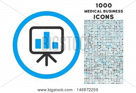 Slideshow Screen rounded vector bicolor icon with 1000 medical business icons. Set style is flat pictograms, blue and gray colors, white background.