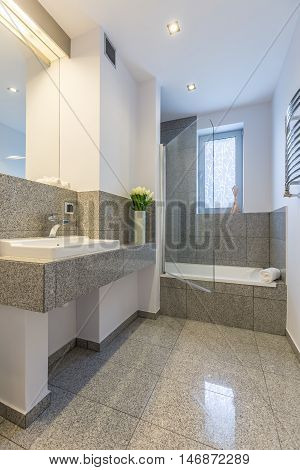 Luxurious Bathroom In White And Grey Idea
