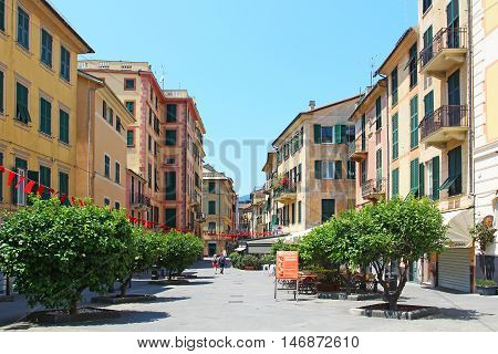 RAPALLO, ITALY - JUNE 28, 2016: Old town of Rapallo resort in Genoa province on the Ligurian sea coast