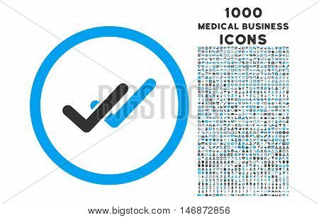 Validation rounded vector bicolor icon with 1000 medical business icons. Set style is flat pictograms, blue and gray colors, white background.