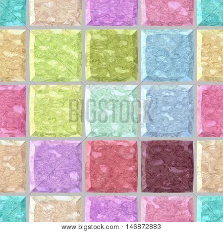 pastel colorful spectrum marble stony mosaic seamless pattern texture background with gray grout - regular squares