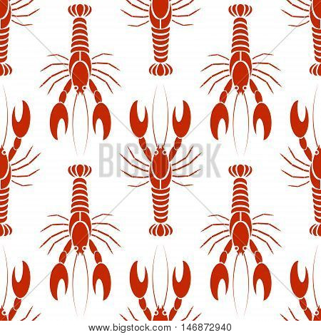 Vector seamless pattern with crayfishes or lobsters in orange red colors white background. Simple flat design for textile fabric wrapping.