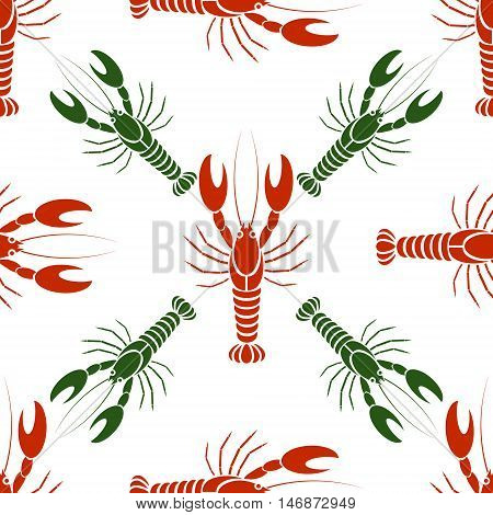 Vector seamless pattern with crayfishes or lobsters in red and green colors. Simple flat design for textile fabric wrapping