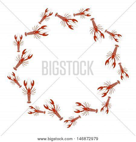 Vector crayfish or lobster frame in white background. Simple flat design for cards menu booklet website