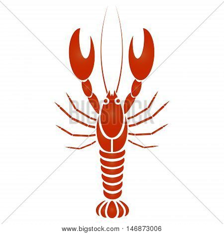Vector isolated crayfish or lobster. Simple design with red and orange gradient