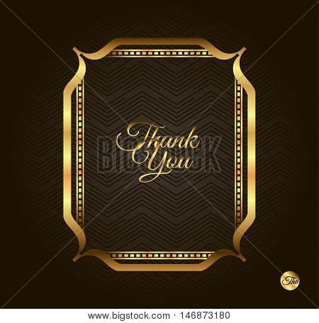 Thank you Golden frame. Vintage gold background, vector antique frame on black