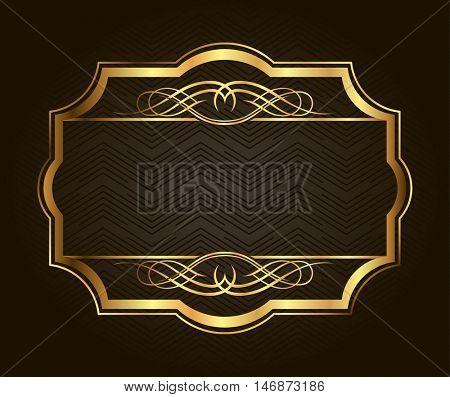 Golden frame for placing your picture or text behind. Vintage gold background, vector antique frame on black