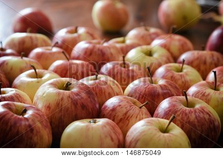 Numerous Apples Lying On The Table.