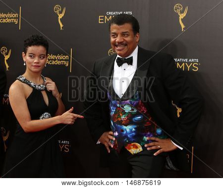 LOS ANGELES - SEP 11:  Miranda Tyson, Neil deGrasse Tyson at the 2016 Primetime Creative Emmy Awards - Day 2 - Arrivals at the Microsoft Theater on September 11, 2016 in Los Angeles, CA
