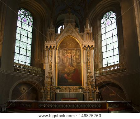 TURKU, FINLAND - JUNE 13, 2015: Altar of the Lutheran Cathedral in Turku. Religious landmark  of the city Turku