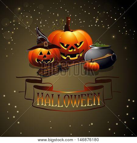 Happy Halloween background with sinister pumpkins. Vector illustration for celebration.