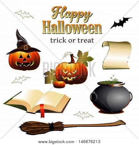 Set of sinister Happy Halloween symbols. Vector illustration for celebration.