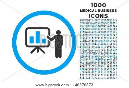 Bar Chart Presentation rounded vector bicolor icon with 1000 medical business icons. Set style is flat pictograms, blue and gray colors, white background.