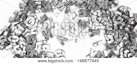3d illustration of concrete letters isolated on white background