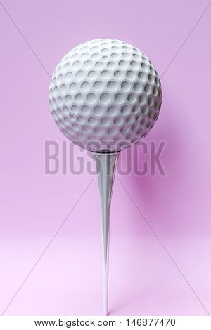 3d illustration of a golf balll isolated on pink background