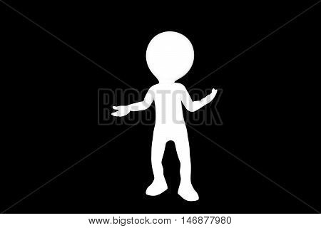 3d illustration of a man silhouette isolated on black