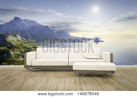 3D rendering of a sofa in front of a photo wall mural landscape