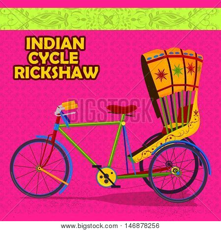 easy to edit vector illustration of Indian cycle Rickshaw representing colorful India