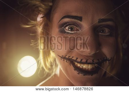 Horrible girl with scary mouth and eyes, halloween theme