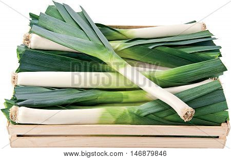 Green leek in a box background vegetables raw food