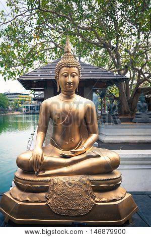 Buddha, front, Seema, Malaka, Temple, Colombo, Sri, Lanka