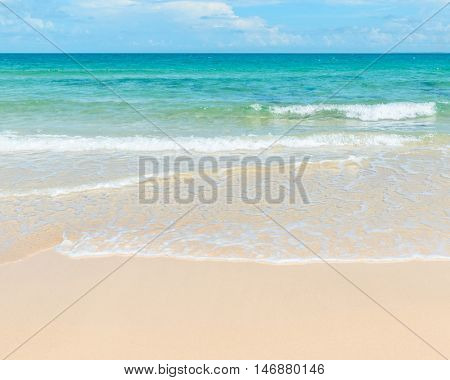 Clear azure sea and sandy beach, vacation concept