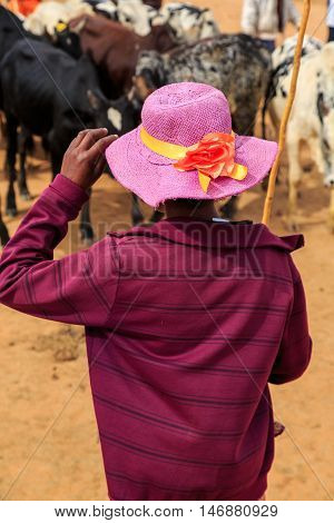 Woman Seen From Behind With Purple Hat At A Cow Market In Africa