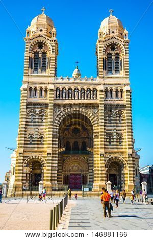 MARSEILLE, FRANCE - MAY 22, 2015: The magnificent facade of the Cathedral of Saint Mary Major. Sunny spring morning in Marseille
