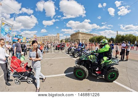 Fans Of Extreme Off-road Driving Quad Bikes Demonstrate Their And Ammunition At The Exhibition
