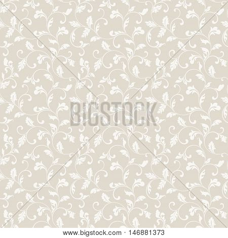 Tender Seamless Pattern With Foliage On A Beige Background. The Pattern Can Be Used For Printing On