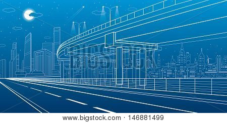 Automotive isolation, architectural and infrastructure illustration, transport overpass, highway, white lines urban scene, night city on background, dynamic composition, vector design art
