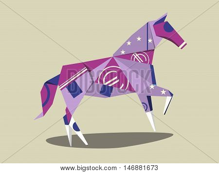 Horse made of euro banknote. Euro cash. Cartoon colorful vector illustration