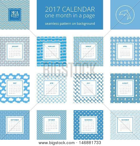 2017 new year calendar, one month in a page. Vector template in a page, square format. Seamless pattern on background. Blue and white colors