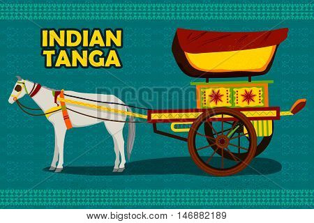 easy to edit vector illustration of Indian Horse Chariot representing colorful India