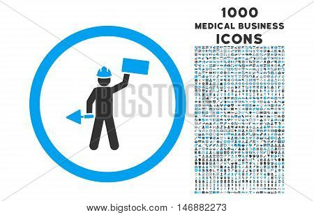 Builder With Shovel rounded glyph bicolor icon with 1000 medical business icons. Set style is flat pictograms, blue and gray colors, white background.