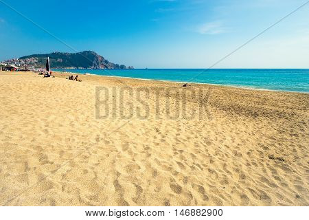 ALANYA TURKET - MAY 2 2015: Unidentified people on Cleopatra beach in alanya Turkey on May 2 2015. Cleopatra beach is one of the best beaches in Southern Europe