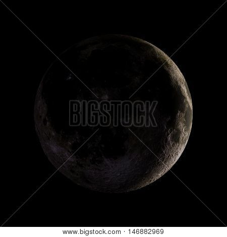 Moon Solar System Planet On Black Background 3D Rendering. Elements Of This Image Furnished By Nasa