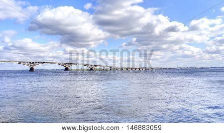 Valley motor-car bridge across the river Volga from a city Saratov in a city Engels Saratov Oblast