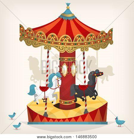 Traditional funfair amusement horse ride vector illustration.