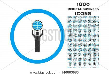Globalist rounded glyph bicolor icon with 1000 medical business icons. Set style is flat pictograms, blue and gray colors, white background.