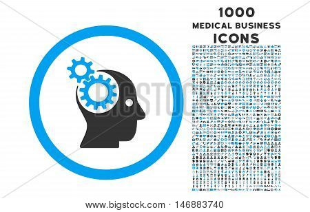 Intellect Gears rounded glyph bicolor icon with 1000 medical business icons. Set style is flat pictograms, blue and gray colors, white background.