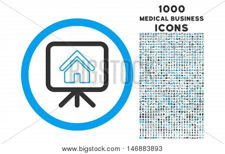 Project Slideshow rounded glyph bicolor icon with 1000 medical business icons. Set style is flat pictograms, blue and gray colors, white background.