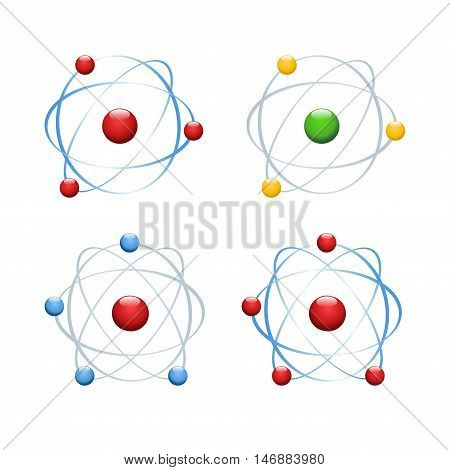 Atom icon isolated on background. Modern simple flat molecular chemistry sign. Internet concept. Trendy nano vector symbol for website design, web button, mobile app. Logo illustration
